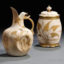 Two Ott & Brewer Belleek Porcelain Items
