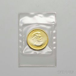 2009 Canadian $20 Half-ounce Gold Maple Leaf.     Estimate $600-800