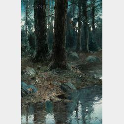 William Herbert Dunton (American, 1878-1936)      Woodland Stream at Night