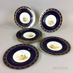 Set of Eight Royal Worcester Gilt Cobalt Porcelain Castle Plates