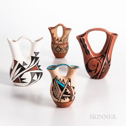 Four Contemporary Pueblo Wedding Vases
