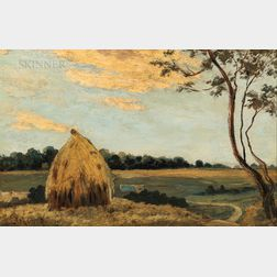 Louis Michel Eilshemius (American, 1864-1941)      Landscape with Haystack