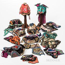 Fifteen Children's Embroidered Hats