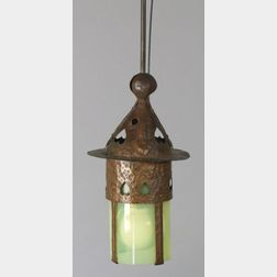Arts and Crafts Hammered Copper Lighting Fixture