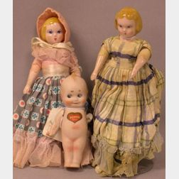 Two Ruth Gibbs China Dolls and a Nippon Kewpie