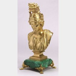 Continental Classical Revival Gilt Bronze and Malachite Bust of Athena