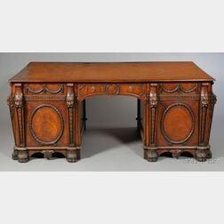 George III Style Carved Mahogany Pedestal Desk