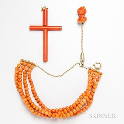 Three Pieces of Coral Jewelry