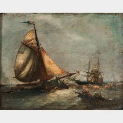 Dutch School, 18th Century      Fishing Vessel with Patched Sails and Other Ships in Coastal Waters