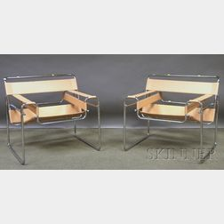 Pair of Mies van der Rohe Wassily-style Leather Upholstered Bent Tubular Steel Armchairs.