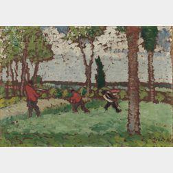 József Rippl-Rónai (Hungarian, 1861-1927)      Figures in a Field