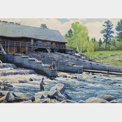 Aiden Lassell Ripley (American, 1896-1969)      Middle Dam on the Rapid River, Western Maine