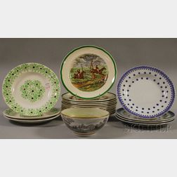 Set of Twelve Copeland/Spode Herring Hunt Scene Plates and Eight Pieces of Assorted   Decorated Ceramic Tableware