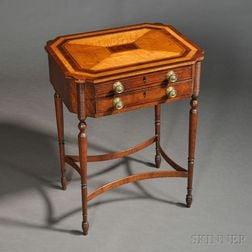Neoclassical Carved Mahogany and Bird's-eye Maple Veneer Worktable