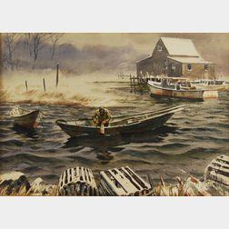 MacIvor Reddie (American, 1864-1931)      Lobsterman Tending a Buoy in Winter.