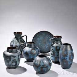 Seven Pieces of Carsten Tonnieshof Art Pottery