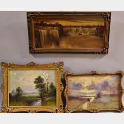 Three 19th/20th Century Landscapes:      Niagara Falls at Dusk
