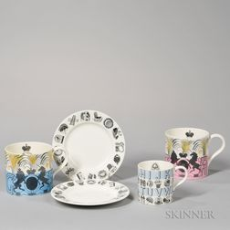 Five Wedgwood Eric Ravilious Design Queen's Ware Items