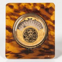 Miniature Faux Tortoiseshell Lancel Desk Clock