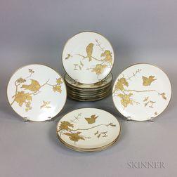 Set of Twelve Fischer and Mieg Porcelain Bird Plates