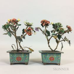 Pair of Hardstone Plants in Cloisonne Pots