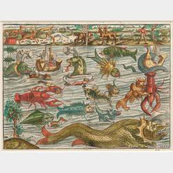 Munster, Sebastian (1488-1552) Sea Monsters, Meerwunder und seltzame Thier wie die in den Mitnächtigen Ländern im Meer und auff dem Lan