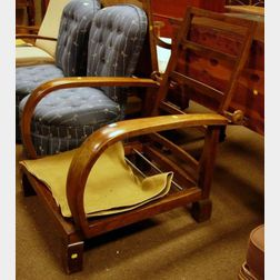 German/Austrian Walnut Adjustable-back Morris Chair with Upholstered Cushion Back and Seat.