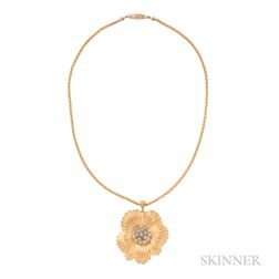 "18kt Gold ""Fleur de Fleurs"" Pendant and Chain, Nina Ricci for Gianmaria Buccellati"