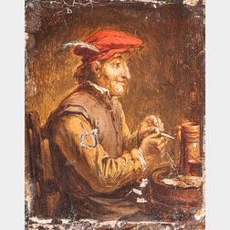 Dutch School, 17th Century Style      Three Tavern Scenes: Man in Red Cap Filing His Pipe ,  Jovial Friends at a Table