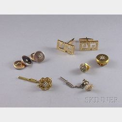 Group of Gold and Diamond Gentleman's Dress Accessories