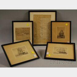 Two Framed 18th Century Handwritten Bills/Receipts and Three Framed Etchings   of American Sailing Ships