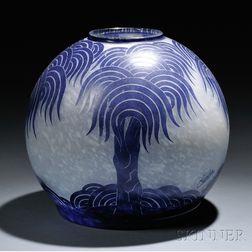 Le Verre Francais Cameo Glass Palmier Bleus Vase