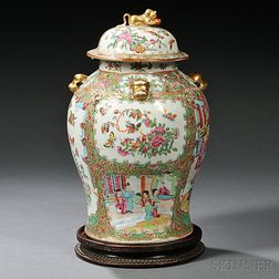 Chinese Export Porcelain Rose Medallion Covered Jar
