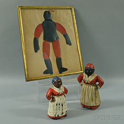 Two Polychrome Cast Iron Doorstops and a Framed Paper Puppet