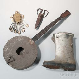 Metal Banjo, Safety Pin Plaque, Boot, and Pair of Shears