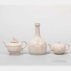 Three Staffordshire White Salt-glazed Stoneware Items
