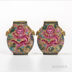 Pair of Gilt Famille Rose Flask Vases