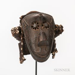 Kuba-style Carved Wood and Shell Mask