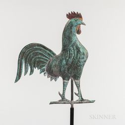Small Molded Copper Rooster Weathervane