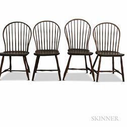 Four Bow-back Bamboo-turned Windsor Side Chairs