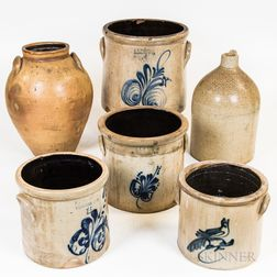 Six Mostly Cobalt-decorated Stoneware Vessels