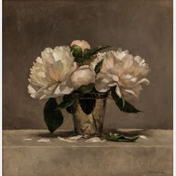 Sarah Lamb (American, b. 1971)      Still Life with Peonies in a Silver Cup