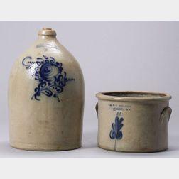 Cobalt Decorated Salt-Glazed Stoneware Crock and Jug