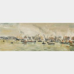 Louis Cazals (French, b. 1912)      Lot of Two Harbor Views:  Rotterdam - Le Port