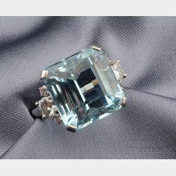 Platinum, Aquamarine and Diamond Ring, Raymond Yard