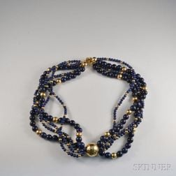 14kt Gold and Lapis Multi-strand Necklace