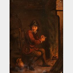 After David Teniers II (Flemish, 1610-1690)      Le Fumeur  /Interior with a Man Seated Before a Chimney, Filling His Pipe