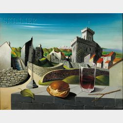Georges Spiro  (French, 1909-1994)      Vue de la Ville de Cagnes-sur-Mer / A Surreal Landscape