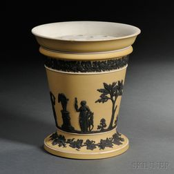 Wedgwood Yellow Jasper Dip Potpourri Vase and Lid