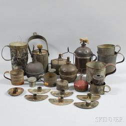 Collection of Tin Cups, Candleholders, Oil Lamps, and Lanterns